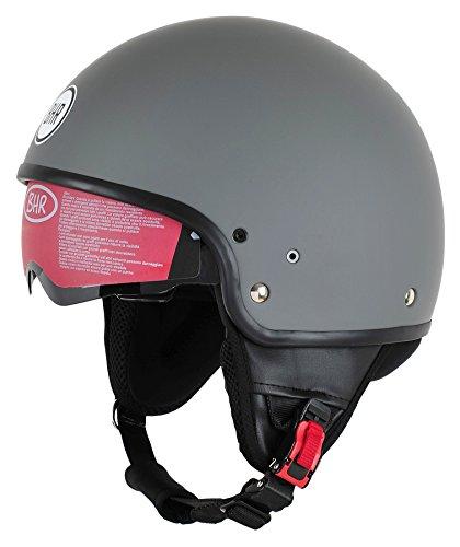 BHR Motorrad Helm 802 Demi-Typ mit Visier Versenkbare,Mattgrau, S (55/56 cm)