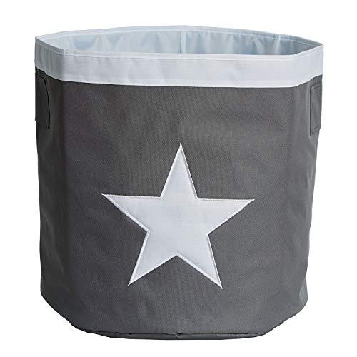 STORE.IT Großer Aufbewahrungskorb mit aufgenähtem, Polyester, Stern - grau/weiß, 44 x 44 x 44 cm