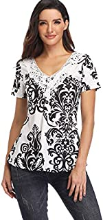 MISS MOLY Women's Summer Peplum Tops Deep V-Neck Low Cut Ruched Front Short Sleeve Ruffle Blouse
