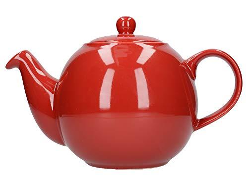 Tetera con colador, de London Pottery Globe, cerámica, Rojo, 8 Cup (1.8 Litre)
