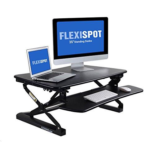 Flexispot Sitz Steh Schreibtisch Stehpult Höhenverstellbarer Schreibtisch Schreibtischaufsatz (Breite: 89 cm | Farbe: Schwarz)