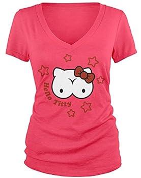 Amdesco Junior s Hello Titty with Stars V-Neck T-Shirt Azalea Medium