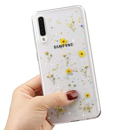 LCHULLE for Samsung Galaxy A51 Flower Case for Girls Women Cute Pressed Dry Real Flowers Clear Design Shiny Glitter Floral Case Soft TPU Shockproof Case Cover for Samsung Galaxy A51, Yellow