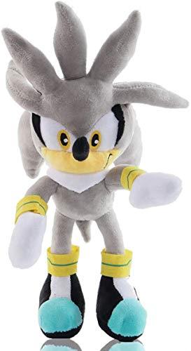 qiuyu Hedgehog Plush Figure Doll Plush 11' Sonic The Hedgehog Doll Soft Stuffed Plush Pillow Toy (Silver The Hedgehog)