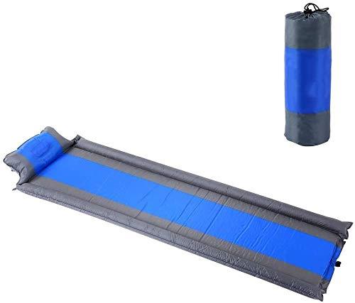 Sac de couchage Matelas de Couchage Gonflable Matelas Portable Sol en intérieur résistant à l'humidité extérieure avec des oreillers et des Mains courantes Camping, randonnée, Couleur: Bleu