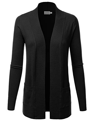 LALABEE Women's Open Front Pockets Knit Long Sleeve Sweater Cardigan-Black-M