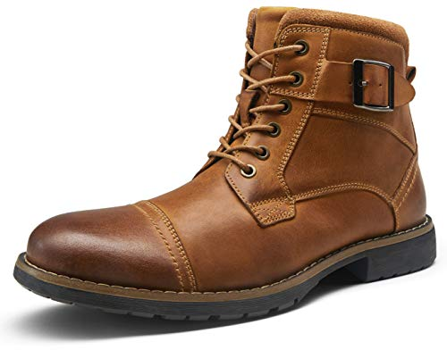 VOSTEY Men's Boots Leather Boots for Men Casual Dress Oxford Combat Boots Mens Ankle Boots(BMY8001 Yellow Brown 10.5)