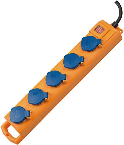 Brennenstuhl Super-Solid SL 554 Steckdosenverteiler / Outdoor Steckdosenleiste für den Baustelleneinsatz und den ständigen Einsatz im Freien (5-fach, 2m Kabel, mit Schalter, IP54) gelb