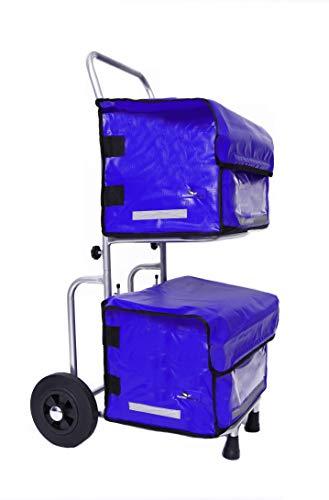 Profi - Transportwagen Einkaufstrolley Zeitungswagen Zeitungsroller Basic inkl. 2 Taschen aus LKW-Plane (blau)