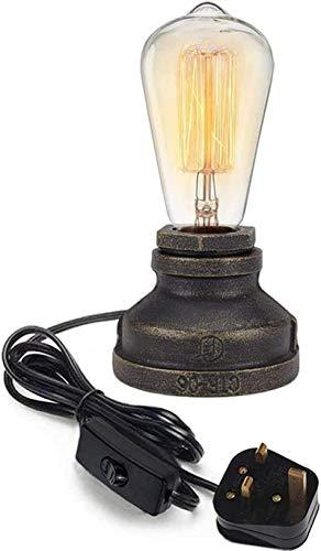Luces de pared industriales, Lámpara de mesa de agua de agua de hierro industrial regulable Lámpara de escritorio Vintage E27 Piezas de iluminación de la bombilla para la decoración del estudio del es