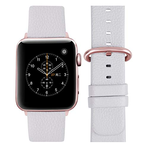 Fullmosa Cinturino per Apple Watch 38 mm/40 mm, Cinturino Pelle Compatibile con Apple Watch Serie SE 6 5 4 3 2 1, Sport, Nike+, Hermès, Edition, Bianca + Fibbia in Oro Rosa