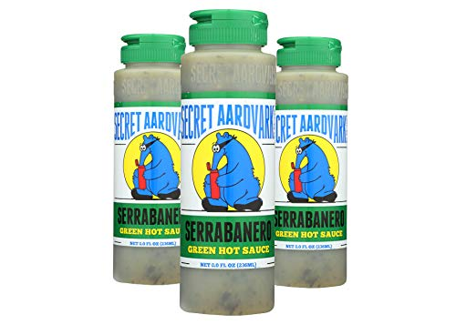 Secret Aardvark Serrabanero Green Hot Sauce | Made with Serrano & Green Habanero Peppers | Non-GMO, Low Carb, Low Sugar | Awesome Hot Sauce & Marinade 8 oz (3 Pack)