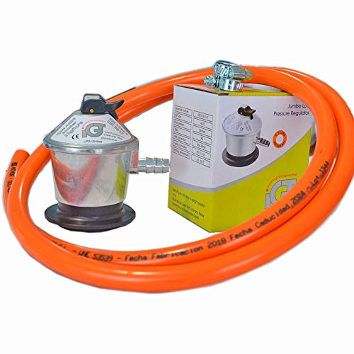 Homologado - Kit 2 Metros Manguera Butano - Regulador Certificado AENOR - 2 Abrazaderas