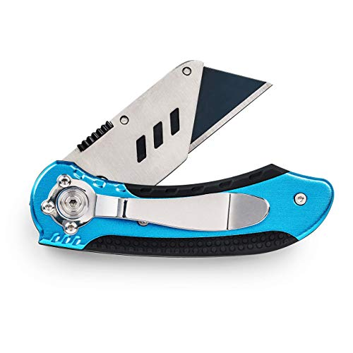 SolidWork Profi Cuttermesser inkl. ultra scharfen Ersatzklingen – klappbares Teppichmesser mit Sicherheitslock und Gürtelclip