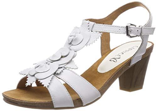 CAPRICE Chenoa, Sandali con Cinturino alla Caviglia Donna, Bianco (Offwhite su.Me 128), 38 EU