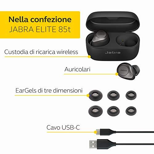 Jabra Elite 85t Auricolari Wireless - Cancellazione attiva del rumore avanzata - Lunga durata della batteria e altoparlanti potenti - Custodia di ricarica wireless - nero titanio