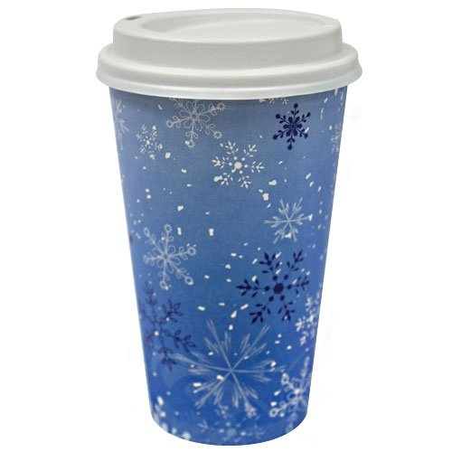 Disposable Hot/Cold Cups with Lids - 16 oz | Snowflake Design | Pack of 16