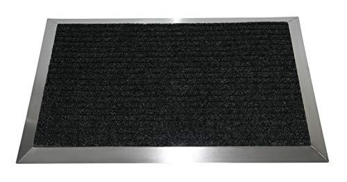 Edelstahlrahmen mit Polypropylen-Fußmatte 90x60 cm (Marke: Szagato) (Schmutzfangmatte, Fußabtreter, Schmutzmatte)
