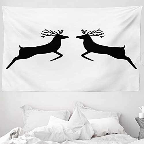 ABAKUHAUS Wild jagen Wandteppich & Tagesdecke, Ren-Silhouette, aus Weiches Mikrofaser Stoff Wand Dekoration Für Schlafzimmer, 230 x 140 cm, Charcoal Grau Weiß