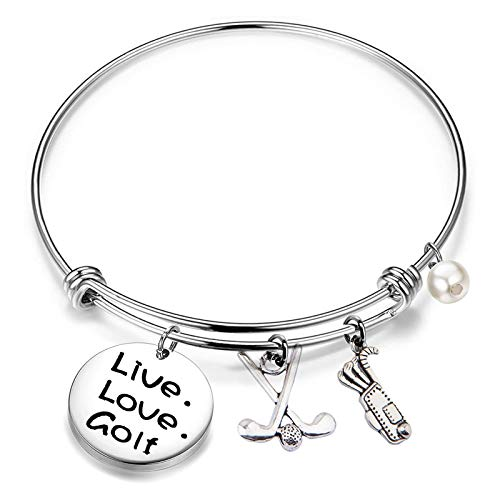 FEELMEM Golf Bracelet Live Love Golf Expandable Charm Bracelet Golf Jewelry Gift for Golf Lover/Golf Club/Golf Team(silver)