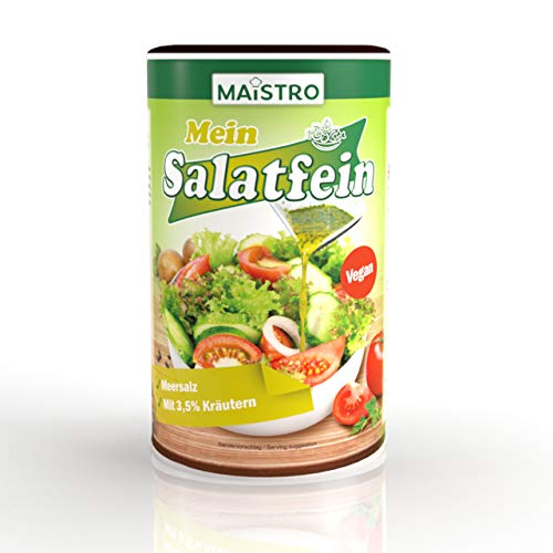 Condimento per insalata vegana alle erbe e acido citrico. Nessun aceto richiesto 800 g / 4,8 litri. Veloce da preparare, versatile. Insalata di Maistro bene