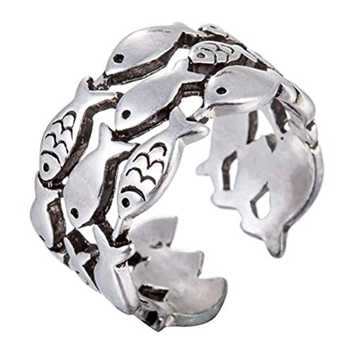 Dan&Dre Animal Ring, Cute Fish Adjustable Finger Ring, Inspirational Ring for Women Swimming Against The Electricity, Simply Keep Swimming Ring, Birthday Gift