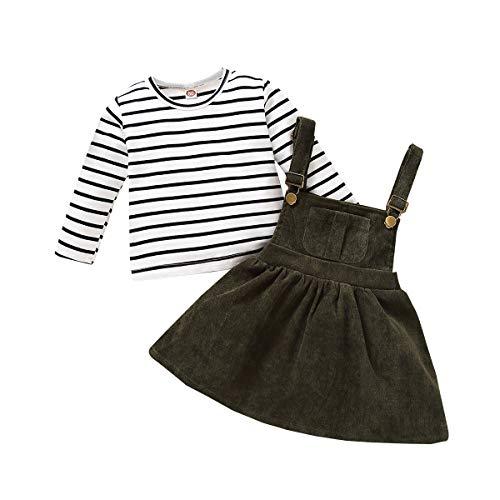 Conjunto de Falda para niñas recién Nacidas Vestido de tutú Superior de Manga Larga a Rayas con Tirantes Conjuntos de Vestido de otoño Invierno