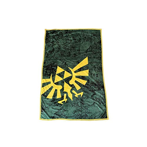 The Legend of Zelda - Fleecedecke - Hyrule Logo - Flauschdecke Karte - 100 x 150cm - grün