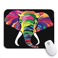 ROSECNY 可愛いマウスパッド ブルーアフリカのカラフルな象緑の動物アステカ明るい色滑り止めゴムバッキングコンピュータマウスパッド用ノートブックマウスマット