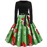 Auifor Vestido Vintage de Manga Larga con Estampado navideño de Manga Larga para Mujer Vestido de Fiesta de Fiesta de ama de casa de los años 50(Verde/X-Large)