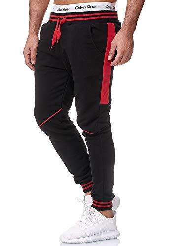 OneRedox Herren Jogging Hose Jogger Streetwear Sporthose Modell 1317 Schwarz Rot XL