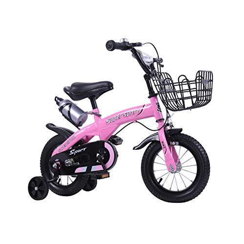 DDXY-Chicas Chicos Niños Bicicleta con Estabilizadores, Botella de Agua y Soporte,Rosado,14 Inch