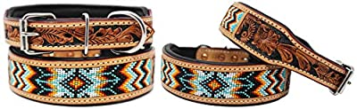CHALLENGER XSmall 9''- 13'' Hand Tooled Beaded Padded Leather Dog Collar 60163