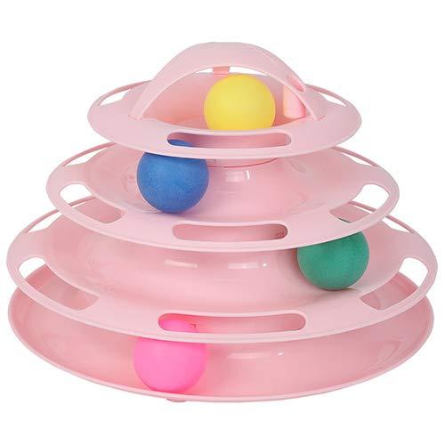 Haolv Interaktives Katzenballspielzeug - 4-stufiges Rollballspielzeug für mehrere Katzen oder eine einzelne Katze - Unterhaltsames Bahnspiel für Katzen und Jungtiere,Pink