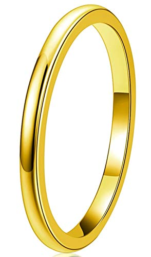 Three Keys Jewelry Gold Tungsten Carbide Womens 2mm Wedding Band Ring Polish for Women Engrave Engagement Size J