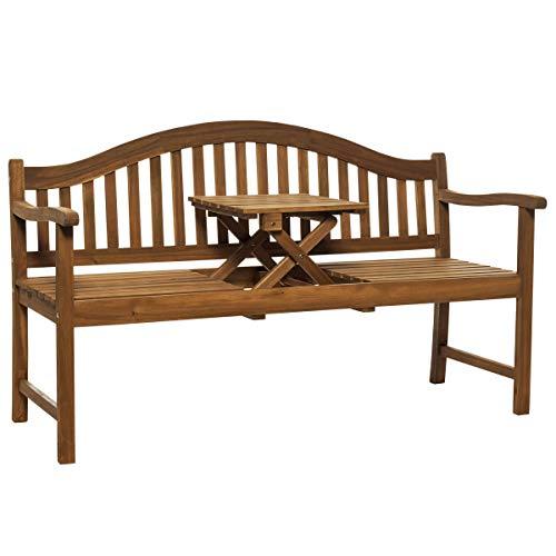 Butlers Banquette Holzbank mit Klapptisch 140x60x90 cm - Sitzbank mit Holztisch - Gartenbank, Bank im Landhaus Stil