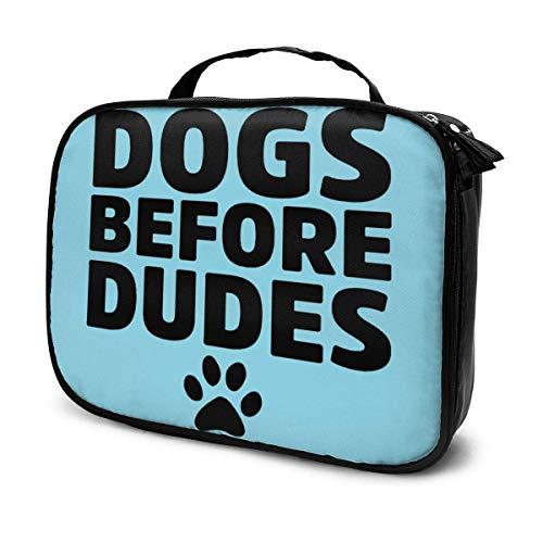Dogs Before Dudes Reise-Kosmetiktasche, Reise-Kosmetiktasche, Kapazität, Reißverschluss, Organizer, Make-up-Tasche mit Griff oben, tragbare Aufbewahrungstasche für Frauen