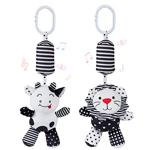 Animal Rattle Toys for Babies with Sound - 2 Soft Cartoon Hanging Rattle Toys - Black and White Car Seat & Stroller Toys for 3 6 12 Months