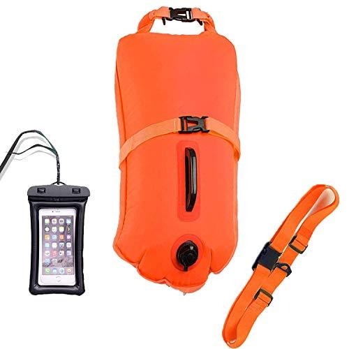 Boya De Natacion con Bolsa Seca Plus Bolsillo Impermeable Celular, Flotador de Seguridad para Abierto Agua Nadadores Entrenamiento o competición (Naranja, 20L)
