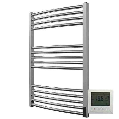 Greened House Electric Chrome 600W x 800H Curved Towel Rail + Timer and...
