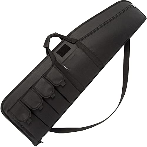 MARITTON Rifle Case Tactical Single Scoped Soft Rifle Bag with Multiple Magazine Holder Pouch,Dual Lockable Zippers, Available Length in 35' 41' 45'.Black, 35inch Rifle Case