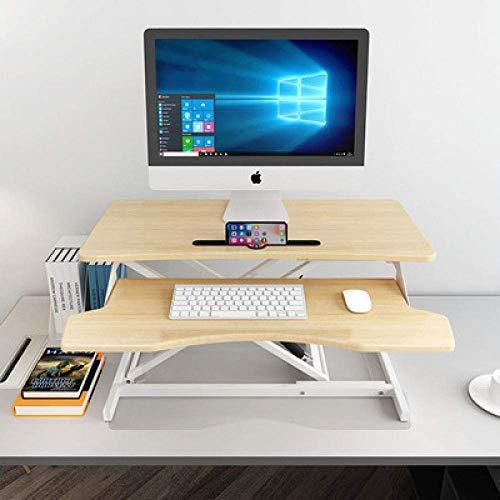STZYY powered height adjustable desk frame,Foldable desktop lifting table, mobile desk, laptop desk-Maple color FK-9