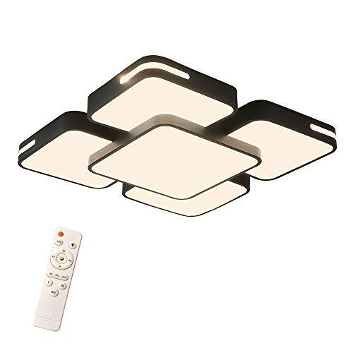 LeMeiZhiJia 48W LED Deckenleuchte Modern Design - Deckenlampe Schwarz Kreative Energiesparlampe Beleuchtung - Flur Wohnzimmer Schlafzimmer Kaltweiß (48W Dimmbar,Schwarz)