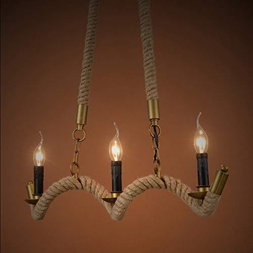 Luz colgante moderna Boutique colgante luces nórdicas american rural retro creativo restaurante café araña tres cabezas ola cáñamo cuerda colgando luces de hierro arte techo lámpara de techo Muebles p