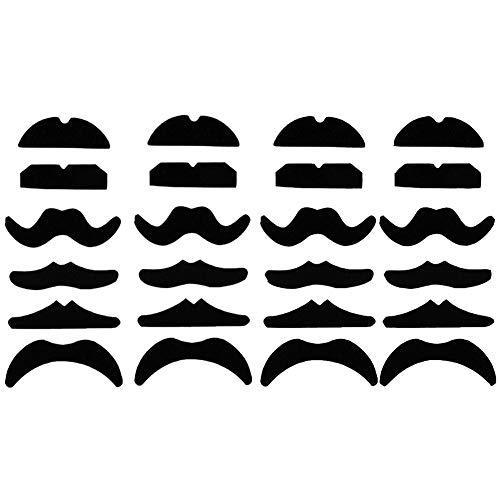 Haawooky 24 bigotes falsos, bigote para fiesta de máscaras, color negro