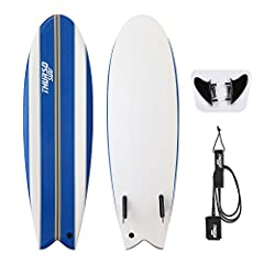 """THURSO SURF Lancer 5'10"""" kids fish tail soft top surfboard package includes one surfboard + twin fins + 6' high-end double stainless steel swivels and triple rail saver ankle leash made with strong recycled plastic / Board sizes: 5'10"""" x 20"""" x 2.75"""" ..."""