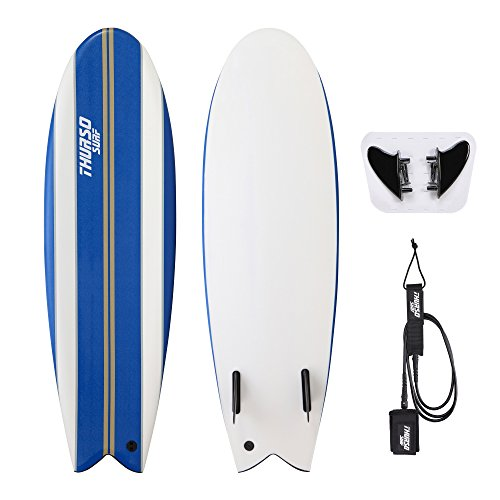 THURSO SURF Lancer 5'10'' Fish Soft Top Surfboard Package Includes Twin Fins Double Stainless Steel Swivel Leash EPS Core IXPE Deck HDPE Slick Bottom Built in Non Slip Deck Grip (Blue)