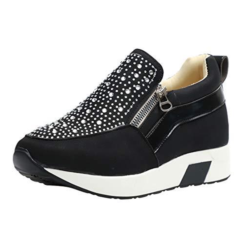HULKY Zapatos Deportivos Plataforma Mujer, Zapatillas Brillantes Calzado con Cremallera Plano Calzado Running Andar Casual Fiesta CláSico Comodos (Negro,39)