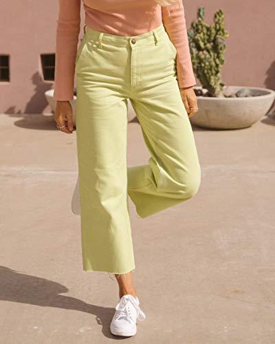 The Drop, Pantaloni da Donna, Lunghi fino alla Caviglia con Orlo Sfrangiato, Verde Pallido, di @amberfillerup