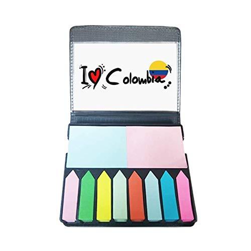 Ik hou van Colombia Woord Vlag Liefde Hart Illustratie Zelf Stick Note Kleur Pagina Marker Box